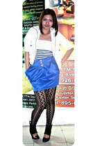 Fashion 21 blazer - stripe blue chic bodysuit - royal blue gitti skirt