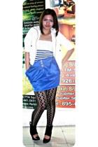 Fashion 21 blazer - stripe blue chic bodysuit - royal blue gitti skirt