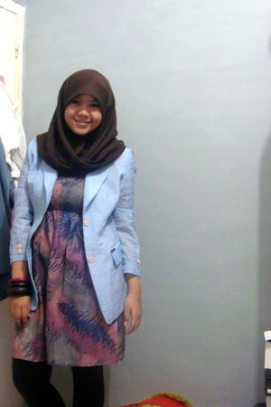 blue blazer - purple dress