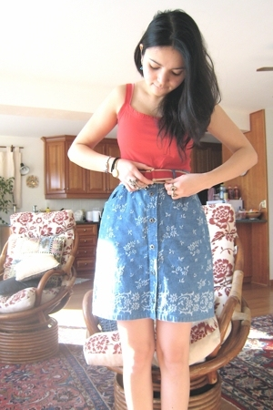 Pens top - YRY belt - vintage skirt