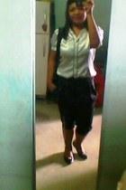 polca dots black and white blouse - pants - vintage bag - black flat chelsea sho