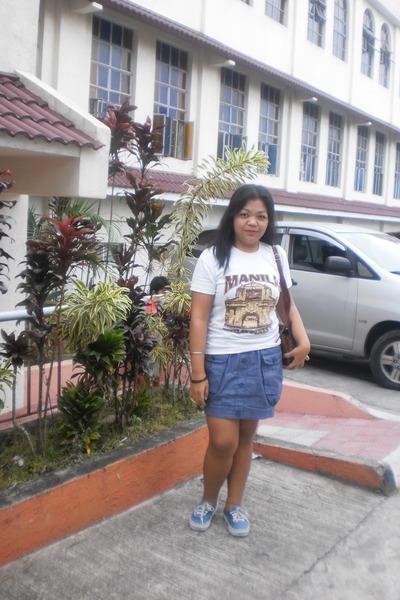 white local brand shirt - dark brown vintage bag - blue liberty skirt - blue van