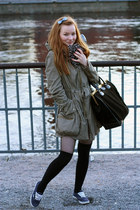 parka asos coat - doctor vintage bag - over-the-knee asos socks - Vans sneakers