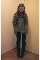 brown cardigan - black Nudie jeans - heather gray H&M jumper - black Bianco boot