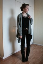 black Bianco boots - black Nudie jeans - black H&M shirt - dark brown 2hand belt