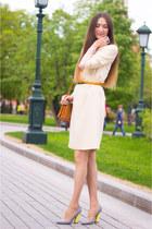 periwinkle Ekonika shoes - white idalida dress - tawny Alba bag