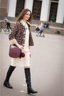 Ivory-idalaida-dress-dark-brown-idalaida-jacket-crimson-mango-bag
