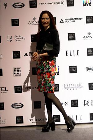 black idaLaida boots - black idaLaida shirt - red idaLaida skirt