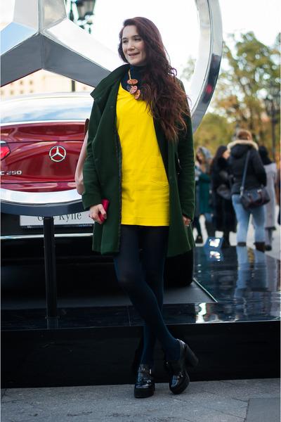 yellow idaLaida dress - forest green idaLaida coat