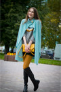 Sky-blue-idalaida-coat-forest-green-idalaida-skirt