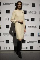 black Ekonika boots - cream idaLaida dress
