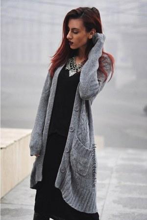 gray accessories - gray cardigan