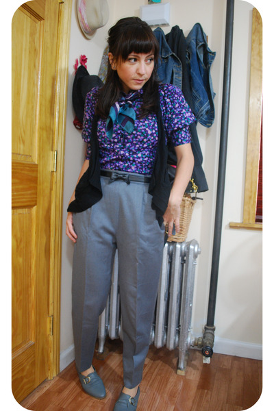 vintage pants - Jeffrey Campbell shoes - kensiegirl blouse - kensie vest - vinta