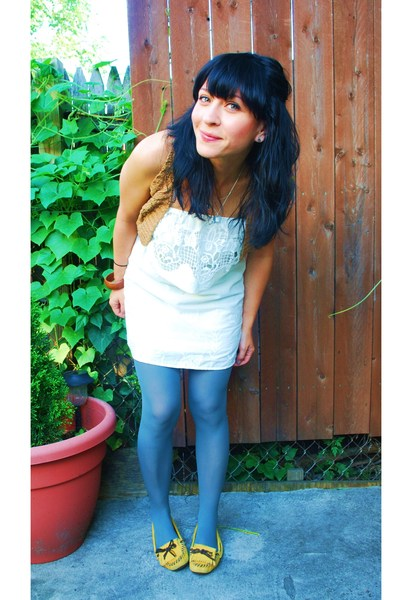modcloth dress - kensie vest - Aldo shoes - American Apparel tights