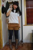 vintage top - Topshop shorts - American Apparel tights - Steve Madden boots