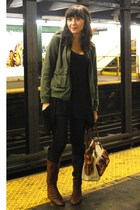 vintage jacket - UO top - H&M tights - 8020 boots - Cole Haan purse