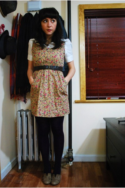 beige modcloth dress - brown seychelles shoes - white kensie blouse