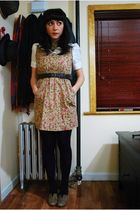 beige modcloth dress - brown seychelles shoes - white kensie blouse