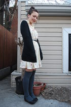 gray DIY socks - black UO shoes - white beacons closet vintage dress