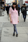 Pink-vintage-dress-gray-hue-tights-gray-seychelles-shoes