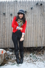 Black-h-m-pants-red-zara-cardigan-blue-thrifted-shirt-gray-target-hat