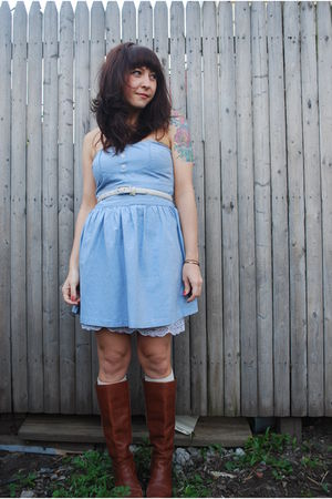 brown vintage Dexter boots - blue BB Dakota dress