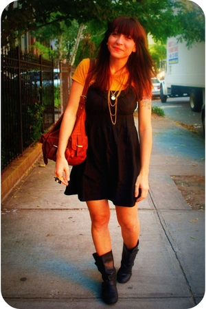 kensie dress - Forever 21 t-shirt - Blowfish boots - Urban Outfitters necklace