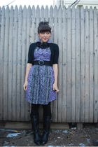purple kensiegirl dress - black BB Dakota cardigan