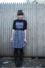 Purple-kensiegirl-dress-black-bb-dakota-cardigan