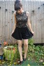Black-vintage-lace-top-black-emporio-armani-shorts