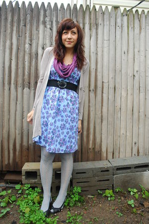 purple modcloth scarf - blue kensiegirl dress - gray kensiegirl cardigan - gray 