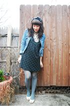 black unknown brand dress - green UO tights