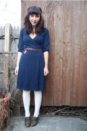 blue H&M dress - gray seychelles shoes - white H&M socks