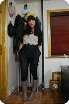 yellow headband diy - black UO - beige vintage boots