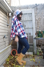 Blue-cheap-monday-jeans-red-reconstructed-coat-beige-sperry-topsider-boots