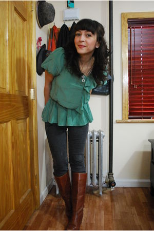 green modcloth blouse - gray Cheap Monday jeans - brown vintage boots