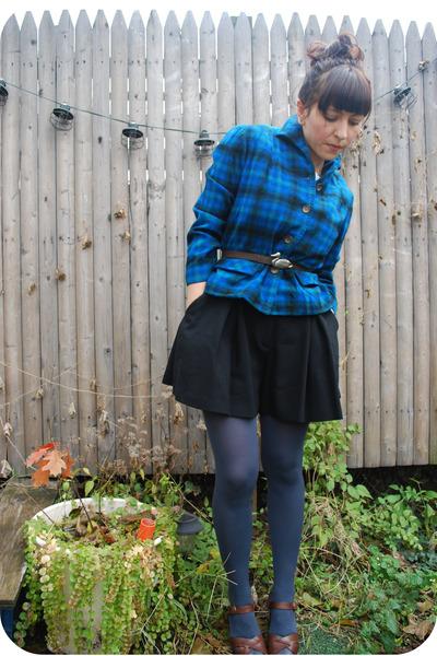 blue Pendeton blazer - black emporio armani shorts