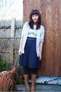 Blue-aa-skirt-gray-f21-shirt-beige-steve-madden-boots