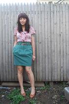 green H&M skirt - pink modcloth blouse - beige vintage shoes