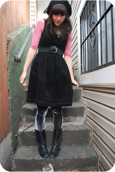 black kensiegirl dress - silver We Love Colors tights - red H&M top - black Blow