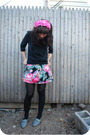 Pink-headband-black-libertine-for-target-top-black-uo-skirt-gray-h-m-jacke