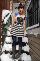 white UO dress - gray f21 skirt - black H&M stockings