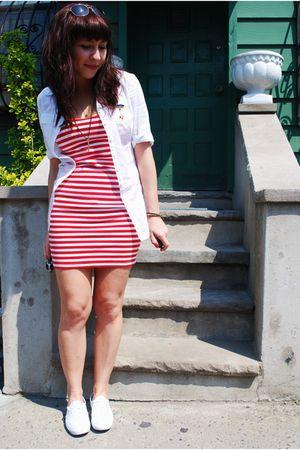 red H&M dress - white Keds shoes - white kensiegirl shirt