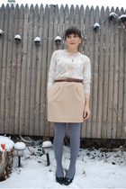 beige thrifted skirt - white thrifted sweater - silver HUE tights