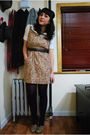 Beige-modcloth-dress-brown-seychelles-shoes-white-kensie-blouse
