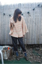 pink vintage coat - gray BB Dakota pants - gray seychelles shoes