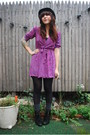 Deep-purple-vintage-dress-black-urban-outfitters-hat-black-seychelles-boots