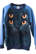 Marine Blue Psycho Kitten Cat Sweatshirt Sweater