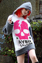 Avril Lavigne Skull Pop Art Hooded Fleece Oversize Sweater