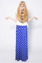 American Flag Star Printed Fold Over Long Maxi Skirt